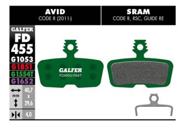 Coppia pastiglie freno Galfer Semi-metalliche Sram Code R, RSC, Guide RE / Avid Code R (2011 ..) Pro