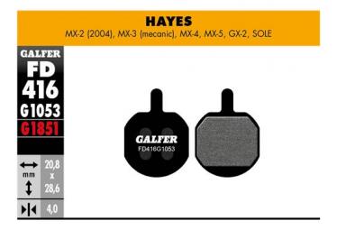 Coppia di pastiglie semi-metalliche Galfer Promax / Hayes MX-2 (04) / MX-3 (Meca) / MX-4 / MX-5 / GX-2 / Sole Standard
