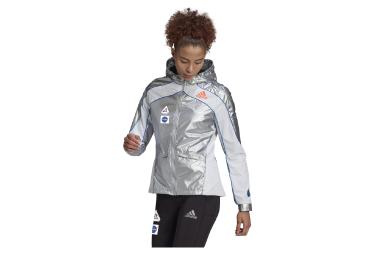Adidas Space Race Silber Weiß Windbreaker Jacke Damen