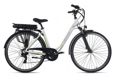 Vélo électrique femme aluminium Adore Versailles 28'' E-Bike blanc-vert 36 V/10,4 Ah Li-Ion-Akku 7 vitesses