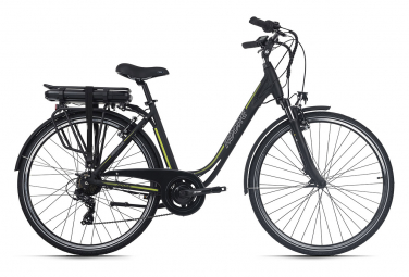 Vélo électrique femme aluminium Adore Versailles 28  E-Bike noir-vert 250 Watt Li-Ion 36 V/10,4 Ah 7 vitesses