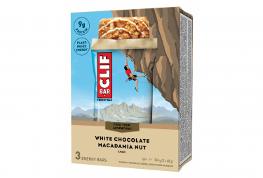 Barre Energetique Clif Bar Chocolat Blanc Macadamia 68g x3