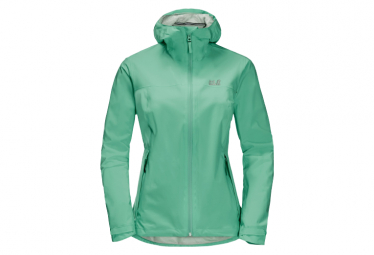 Chaqueta Impermeable Jack Wolfskin Jwp Shell Verde Pacifico Mujer M