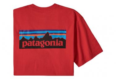 Patagonia P 6 Logo Responsibili Camiseta Roja Para Hombre Xs