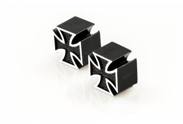 Bouchons de Valve Caps Iron Cross Black