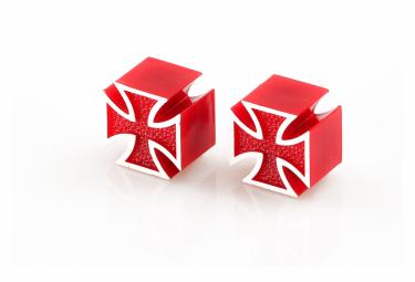 Bouchons de Valve Caps Iron Cross Red