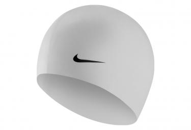 Bonnet de bain nike swim solid silicone training blanc