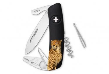 Couteau suisse SWIZA Tire-Tique - 11 fonctions - Léopard Noir