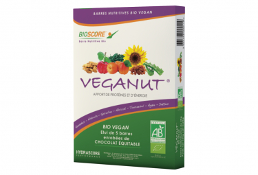 5 Barres Protéinées Hydrascore Veganut Bio et Vegan Abricot 5 x 25g