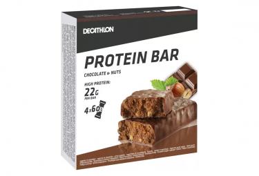 4 Barres Protéinées Domyos Protein 22g Chocolat Noisettes 60g