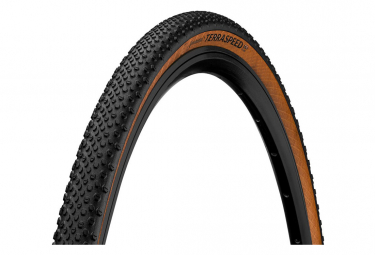 Pneu Gravel Continental Terra Speed 700 mm Tubeless Ready Souple ProTection BlackChili Compound Flancs Marrons Transparent E-Bike e25
