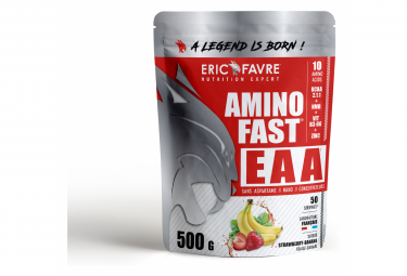 Boisson énergétique Eric Favre Amino Fast EAA 500g Fraise Banane édulcorants
