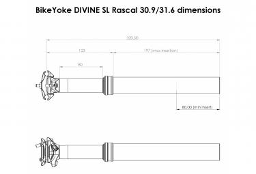 Bike Yoke Divine SL Rascal Teleskop-Sattelstütze (ohne Kontrolle)