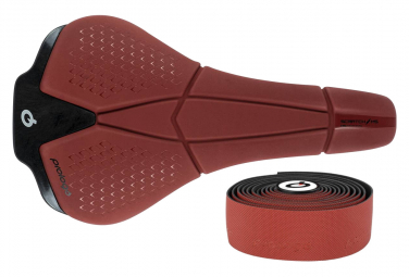 Sella Prologo Scratch M5 Tirox + nastro manubrio colore naturale rosso