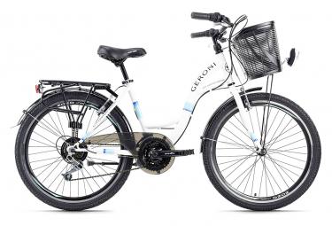 Vélo enfant 24'' Geroni Siro turquoise-blanc avec panier TC 40 cm KS Cycling