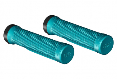 Pair of OneUp Lock-On Turquoise Grips