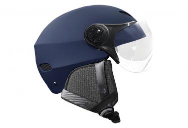 Casque LED yeep.me H.30 vision Bleu nuit pour mobilité urbaine électrique avec visière et oreillettes amovibles