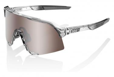 Occhiali da sole 100% S3 lucidati con lenti a specchio grigio traslucido / argento
