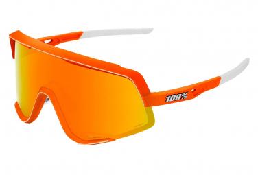 Occhiali da sole Glendale al 100% con lenti a specchio multistrato arancione / rosso al neon