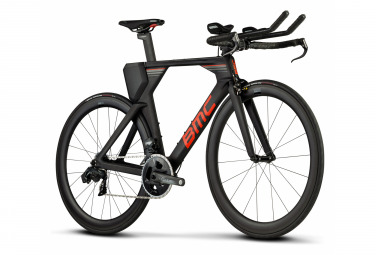 BMC Timemachine Ein Triathlon Fahrrad Sram Force eTap AXS 12S 700 mm Carbon Grau Rot 2021
