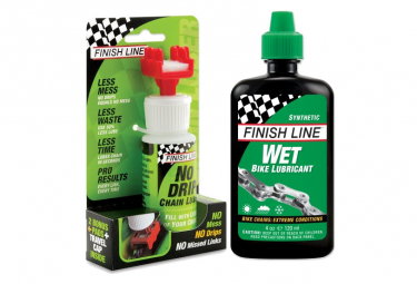 Finish Line Wet Lube 120ml Chain Lubricant + No Drip Chain Luber