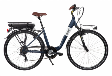 Bicyklet Claude Shimano Tourney 7V 500 Wh 700mm Bicicleta de ciudad eléctrica Matte Night Blue Brown 2020