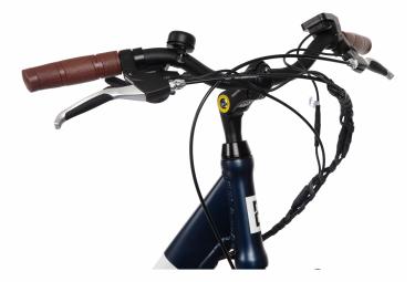 Vélo de Ville Électrique Mixte Bicyklet Claude Shimano Tourney 7V 500 Wh 700 mm Bleu Nuit Mat Marron 2020