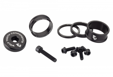 Wolf Tooth Anodized Color Kit (Headset Spacers, Stem Cap, Water Bottle Cage Bolts) Black