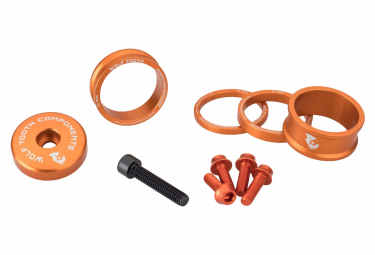 Wolf Tooth Anodized Color Kit (Headset Spacers, Stem Cap, Water Bottle Cage Bolts) Orange