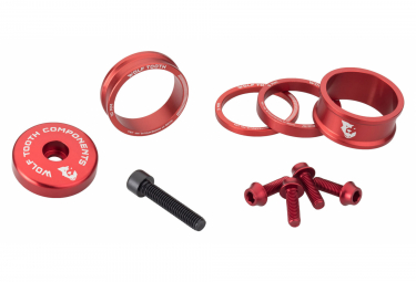 Wolf Tooth Anodized Color Kit (Headset Spacers, Stem Cap, Water Bottle Cage Bolts) Red