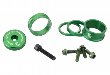Wolf Tooth Anodized Color Kit (Headset Spacers, Stem Cap, Water Bottle Cage Bolts) Green