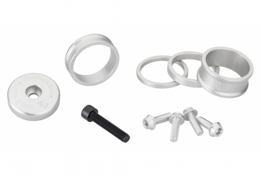 Wolf Tooth Anodized Color Kit (Headset Spacers, Stem Cap, Water Bottle Cage Bolts) Silver