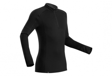 T-Shirt Manches Longues Forclaz Zip Trek 500 Merino Noir