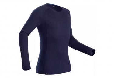 T-Shirt Manches Longues Forclaz Trek 500 Merino Bleu