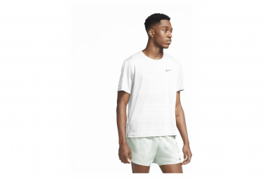Maillot Manches Courtes Nike Dri-Fit Miler Blanc