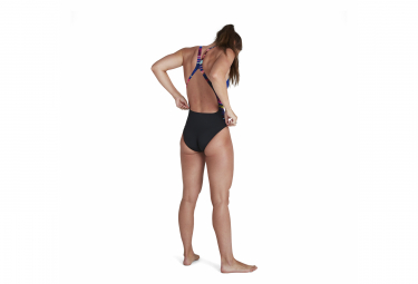 Speedo Placement Digital Powerback Woman One-piece Swimsuit Black Multi-color