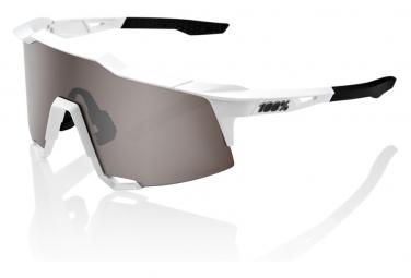 100% Speedcraft Matte White / Hiper Silver Mirror Lens