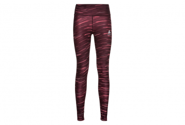 Collant Long Femme Odlo Zeroweight Print Reflective Rouge