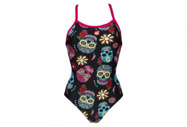 Arena Crazy Skulls Carnival Light Drop Back One-Piece Swimsuit Black Pink
