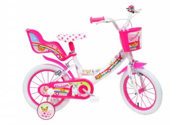 Vélo 14  Fille LICORNE/UNICORN pour enfant de 4 à 6 ans avec stabilisateurs à molettes