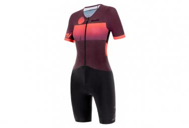 Santini X Ironman Audax Aero Short Sleeve Trisuit Black / Coral Women