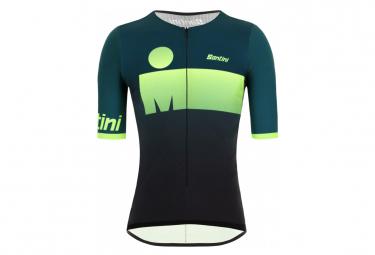 Maillot Triathlon Manches Courtes Santini X Ironman Audax Aero Noir / Vert