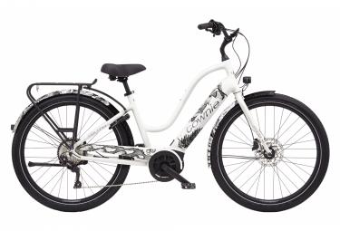Bicicleta de ciudad eléctrica Electra Townie Path Go! Step-Thru equipado con 10D Shimano Deore 10V 500 Wh 27.5'' Blanco Pearl 2021
