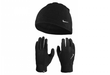 Pack beanie   par de guantes mujer nike run fleece black m l