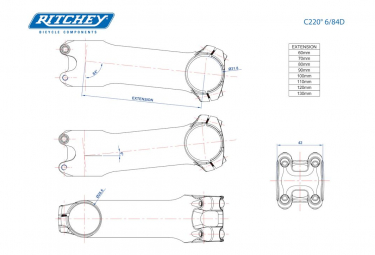Potence Ritchey C220 Classic 6° Argent