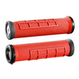 paire de grips odi elite flow rouge 130 mm lock on noir 130