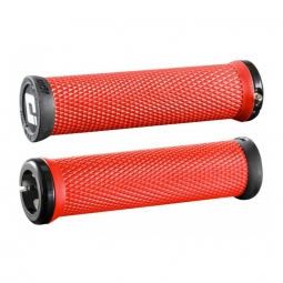 Paire de grips odi elite motion rouge 130 mm lock on noir 130