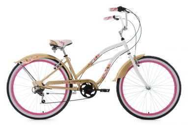 beachcruiser 26 cherry blossom blanc dore tc 42 cm ks cycling unique 165 185 cm