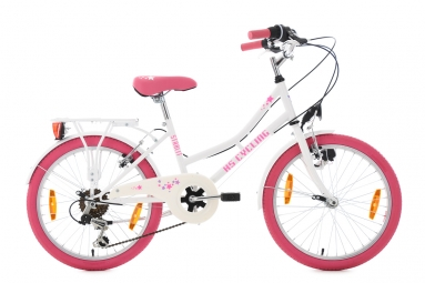 velo enfant starlit 20 blanc rose tc 30 cm ks cycling