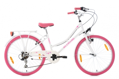 velo enfant starlit 24 blanc rose tc 36 cm ks cycling
